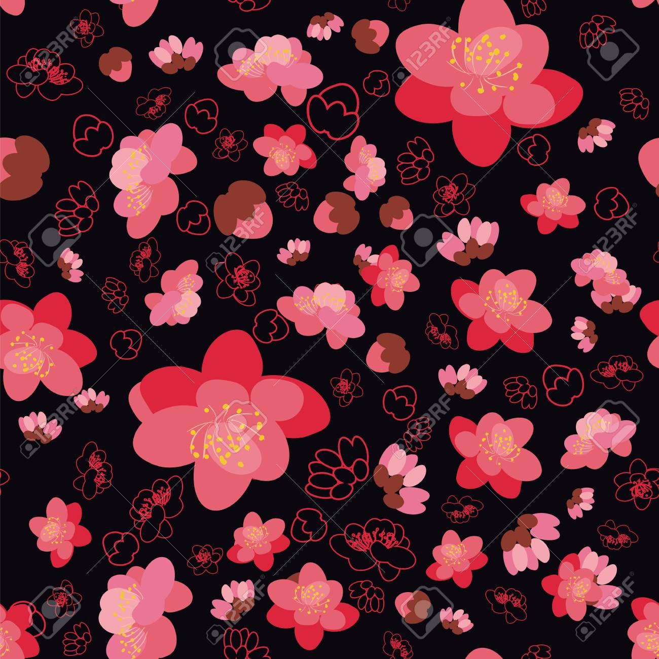 Modele Sans Couture De Fond Tendance Avec Sakura Fleur Cerisier