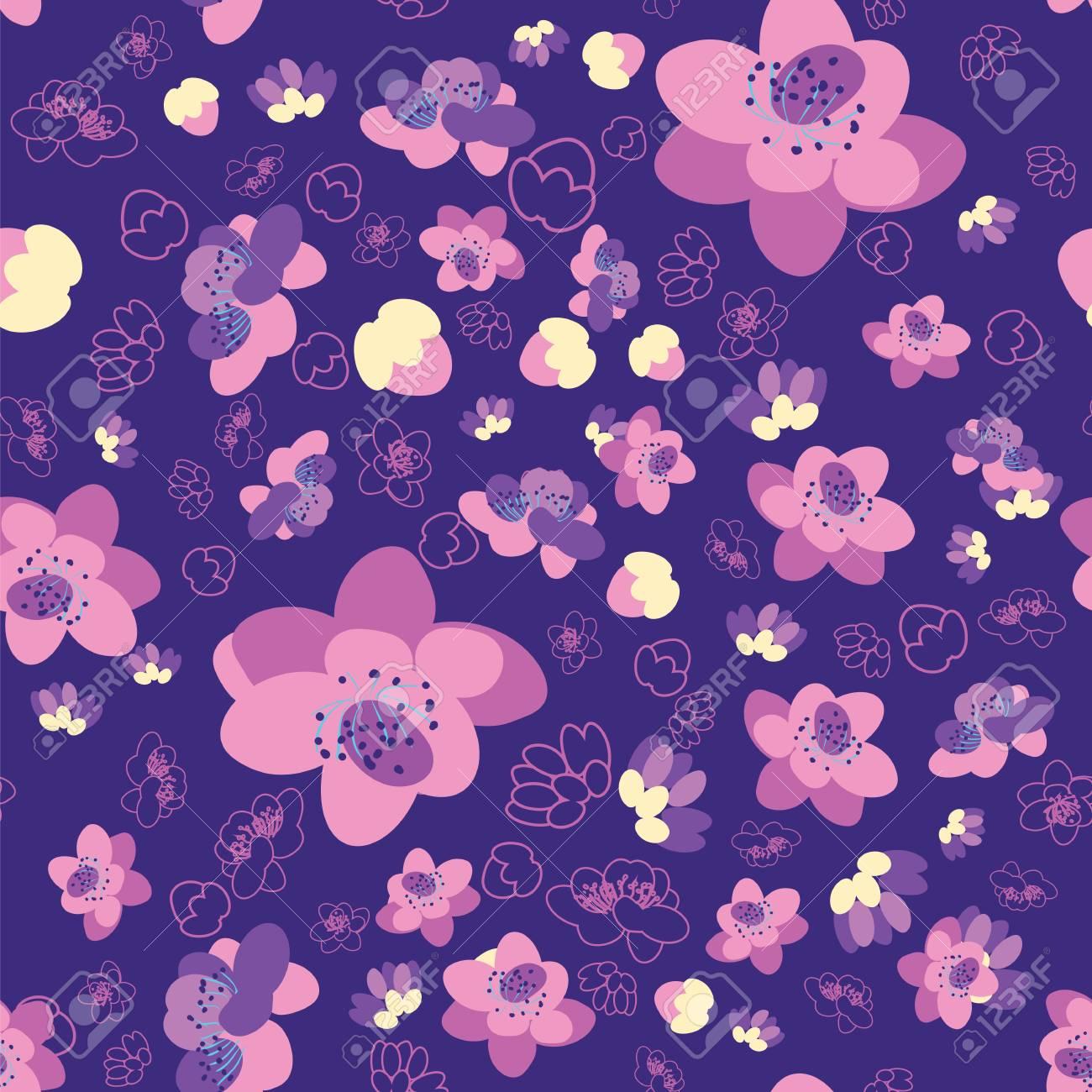 Fond Trendy Seamless Fleur Sakura Cerisier Japonais Branche Et