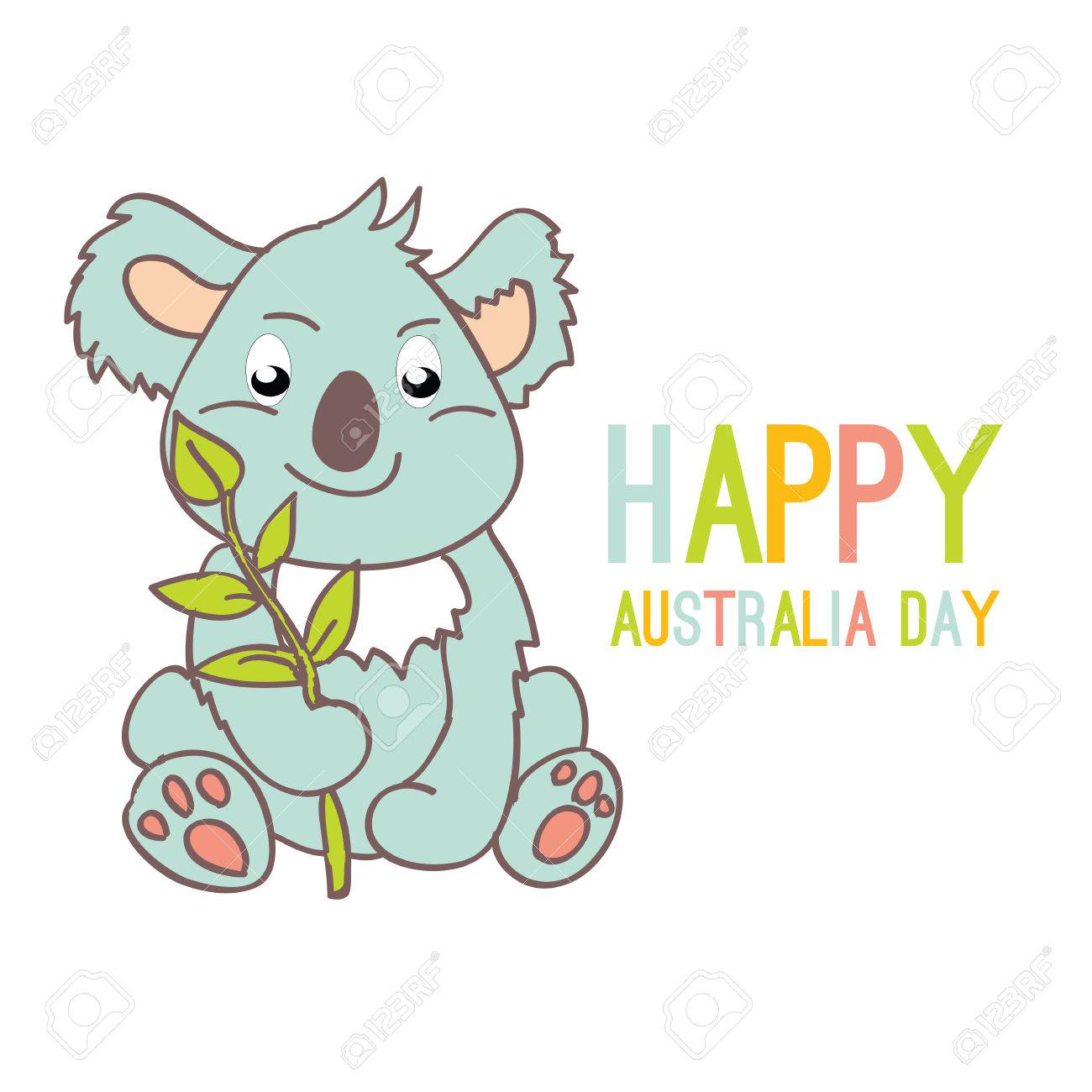 happy australia day with a cartoon koala celebratory background