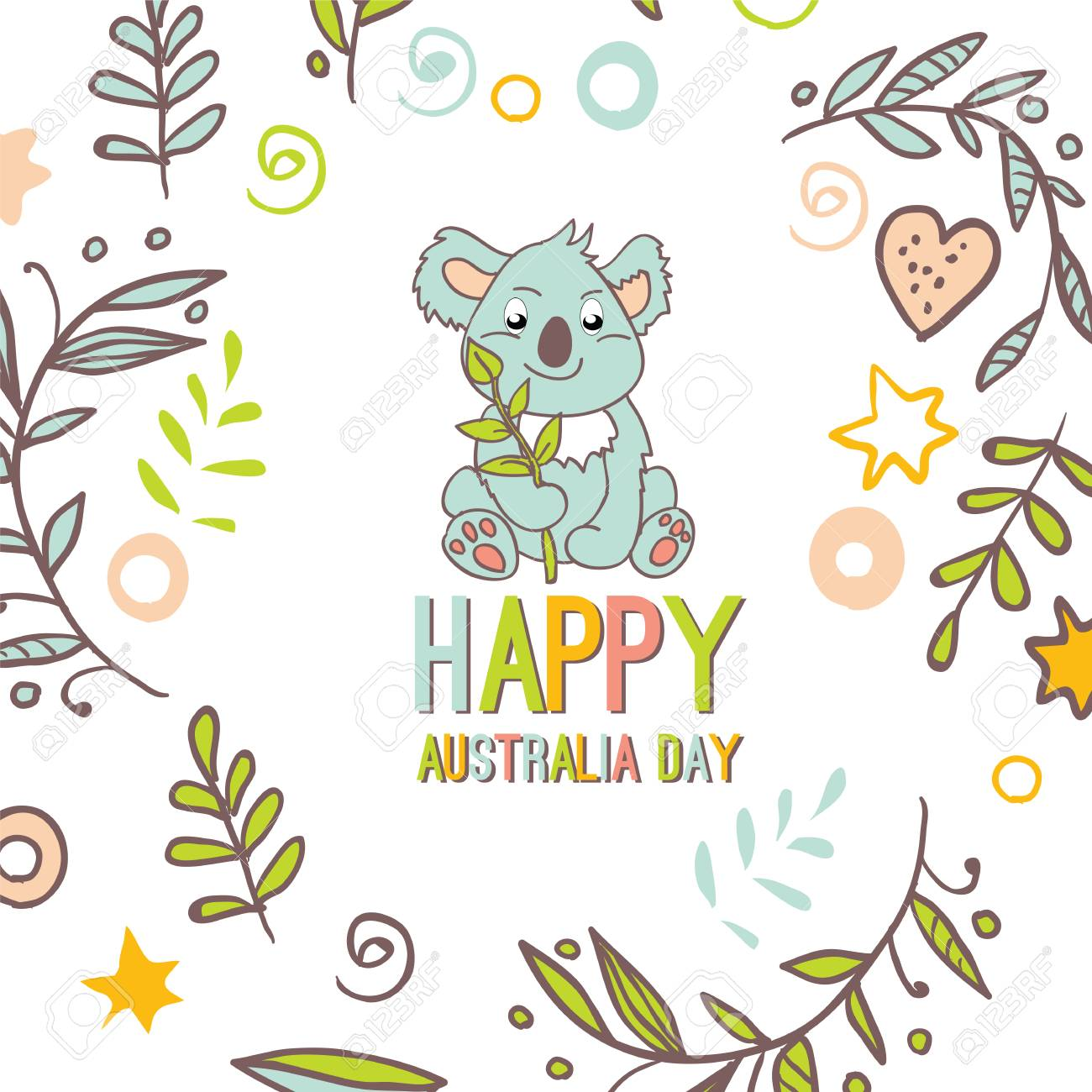 Feliz Día De Australia Con Un Koala De Dibujos Animados. Fondo De ...
