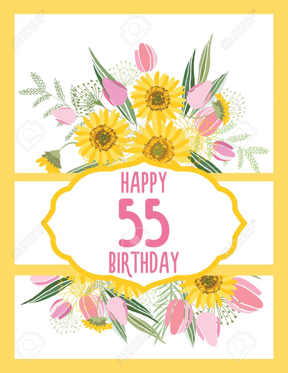 Greeting Card For Anniversary Birthday Flower Composition To
