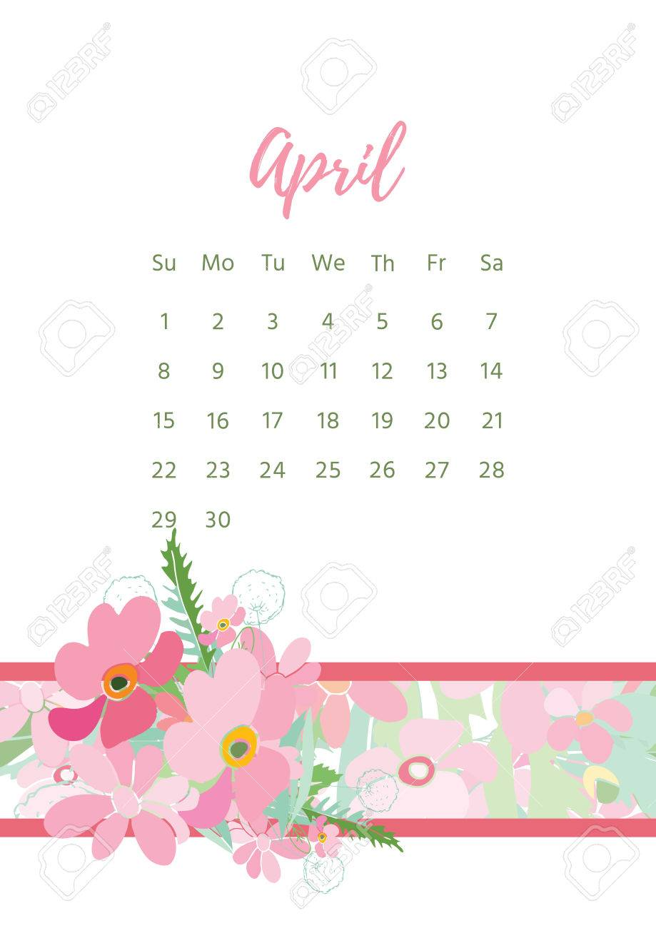 vector vintage floral calendar 2018 on plain background