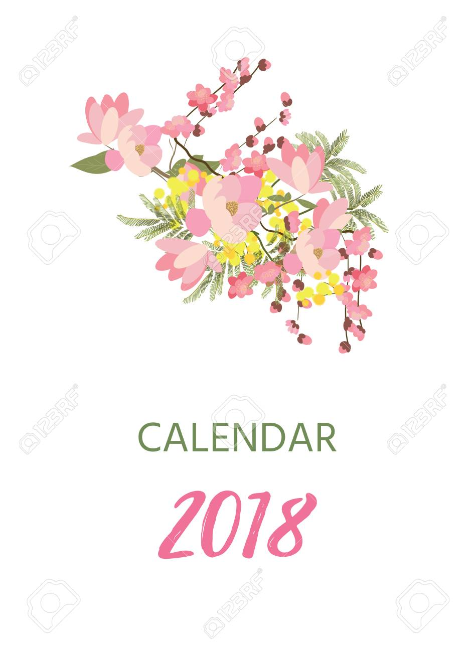 Printable 2018 calendar with pretty colorful flowers royalty free printable 2018 calendar with pretty colorful flowers stock vector 89408812 mightylinksfo