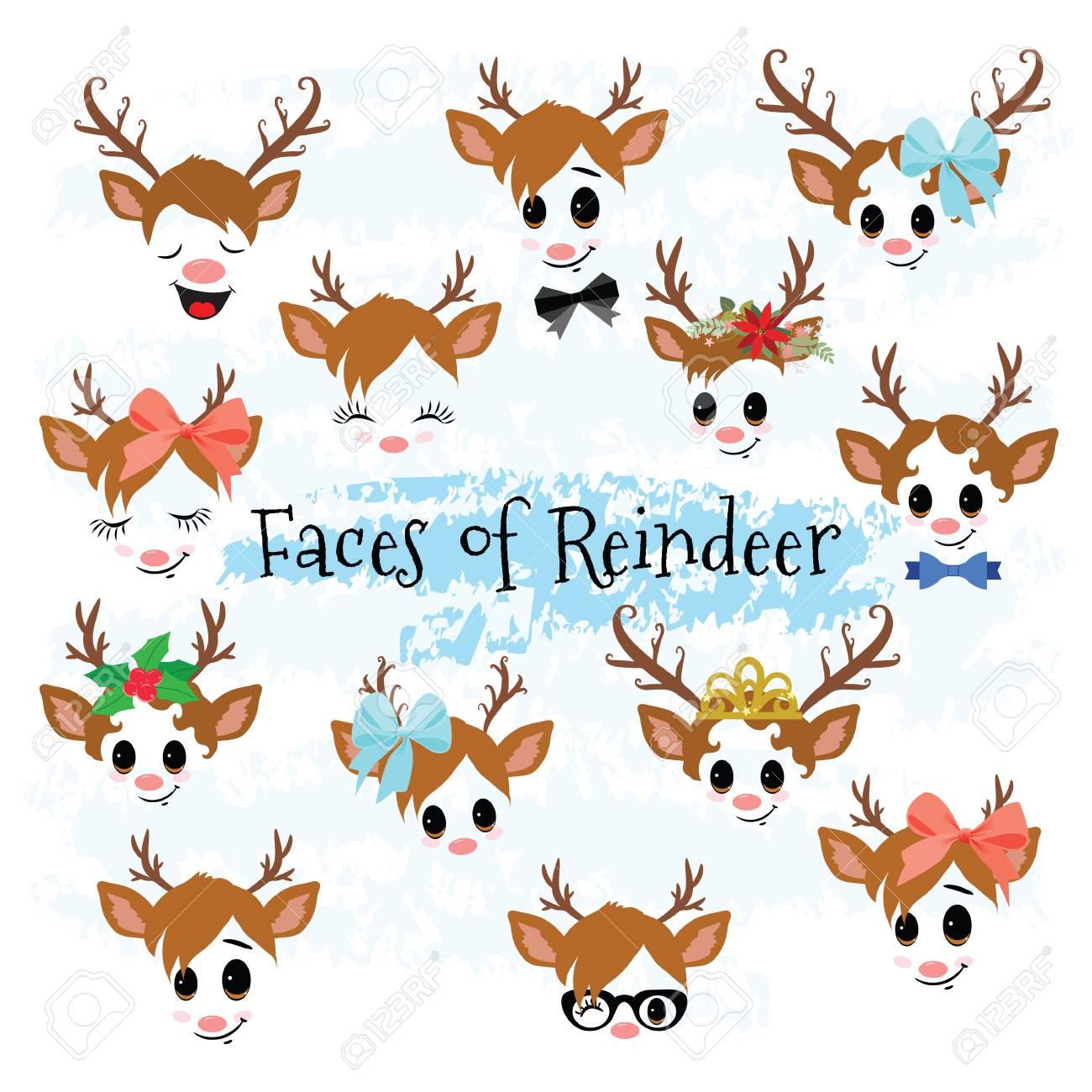 Christmas Clip Art Cute.Christmas Decor Reindeer Faces Clipart Cute Baby Deer Clip Art