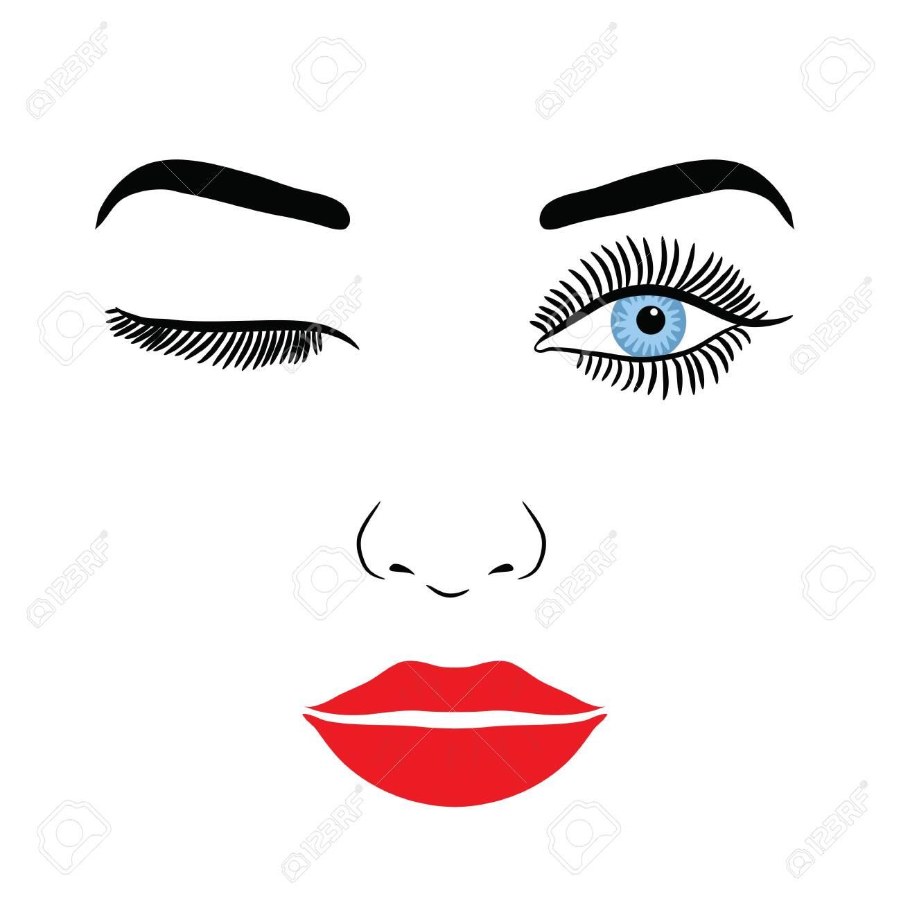 Female Face With Make-up Eyelashes, Eyes And Lips On A White Background - 148866328