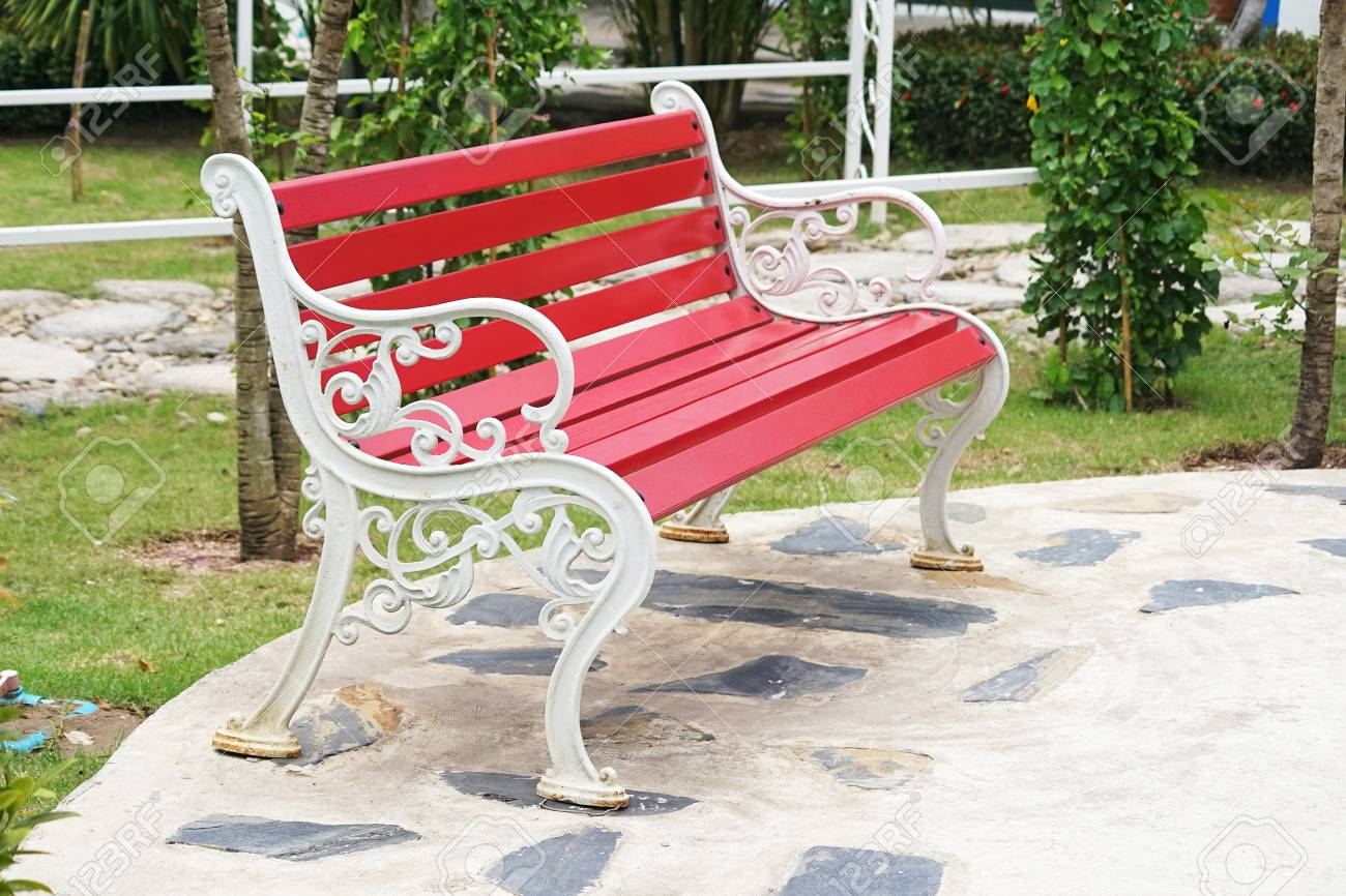 Remarkable Red Steel Bench With White Armrest In Garden Ncnpc Chair Design For Home Ncnpcorg