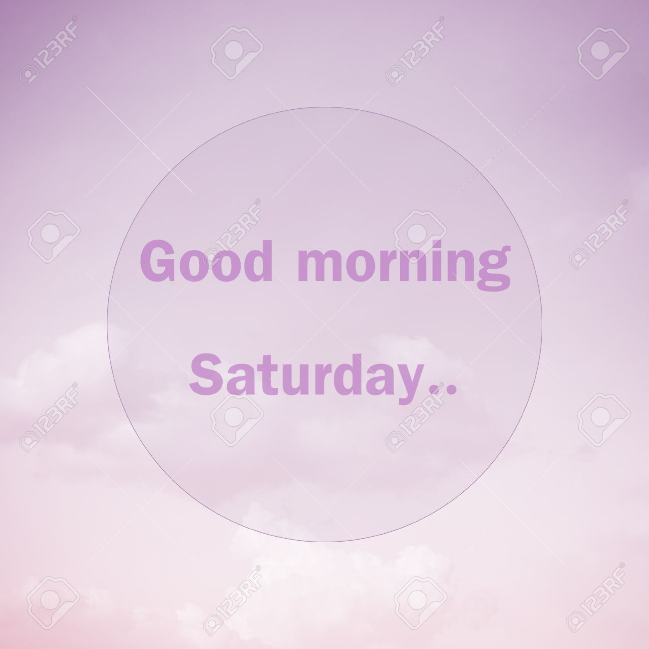 Good Morning Saturday Text On Soft Pastel Cloud And Sky Stock Photo