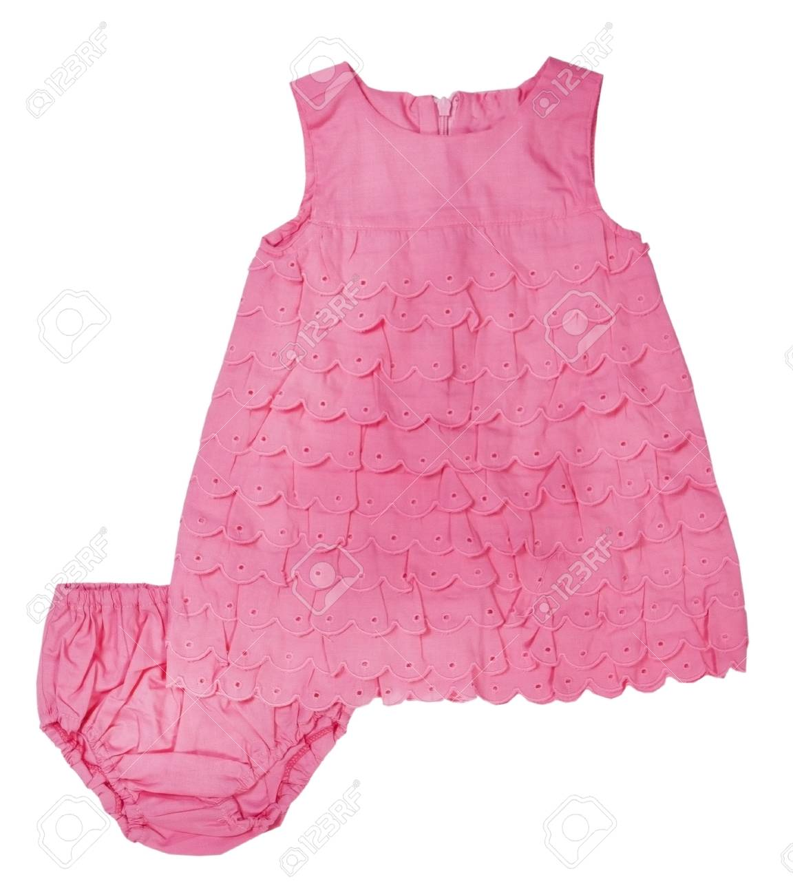 0364ca77092a Pink Knitted Baby Dress On A White Background Stock Photo
