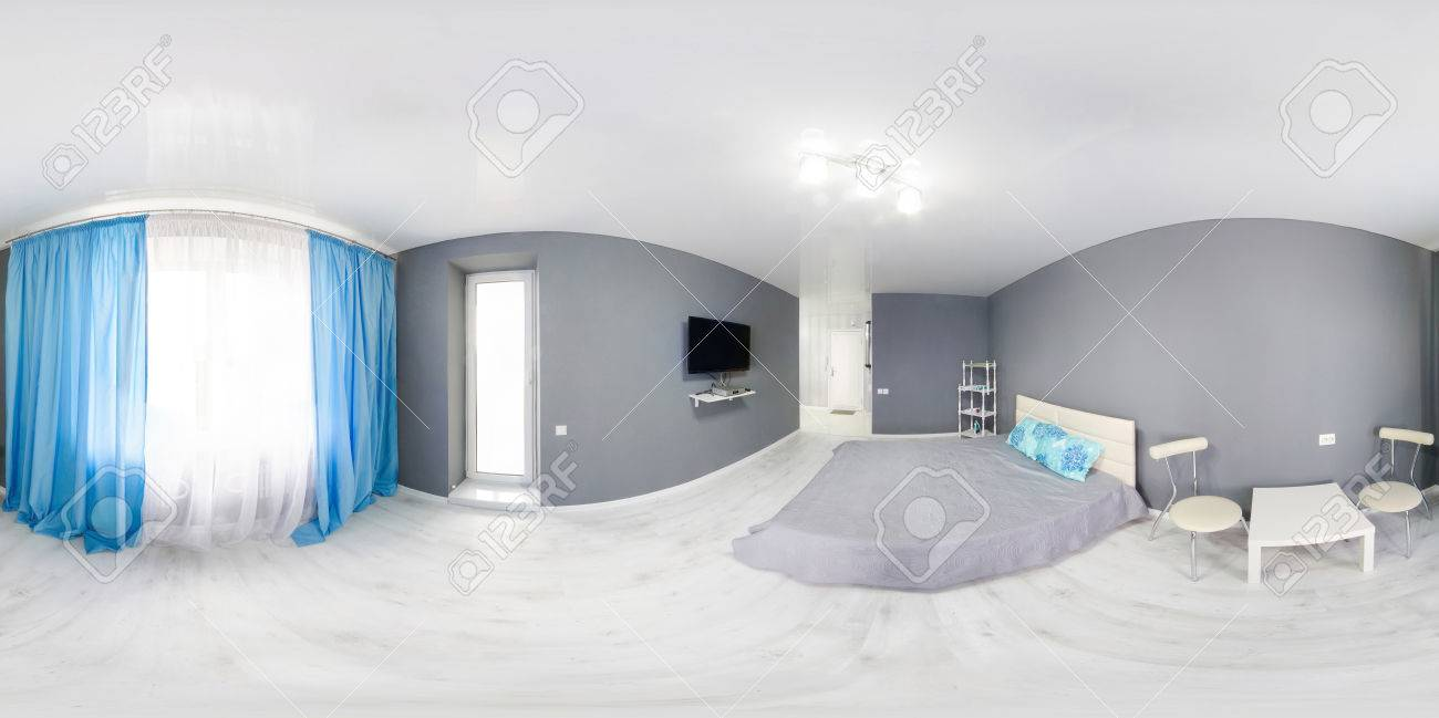 Interior Of Bedroom. Modern Minimalism Style Bedroom Interior In Monochrome  Tones. Spherical Panorama 360