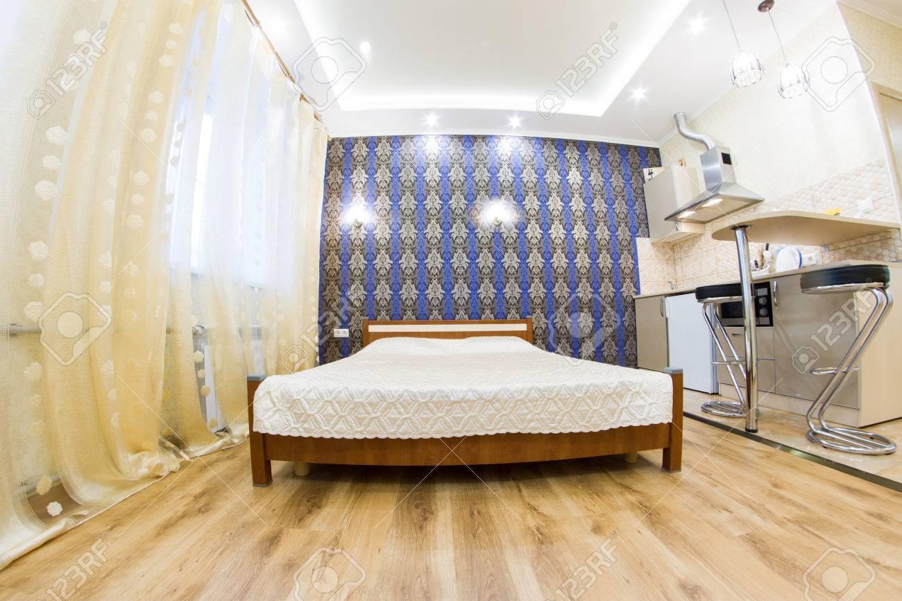 Modernes Studio Apartment. Küche Und Wohnzimmer. Innenarchitektur ...