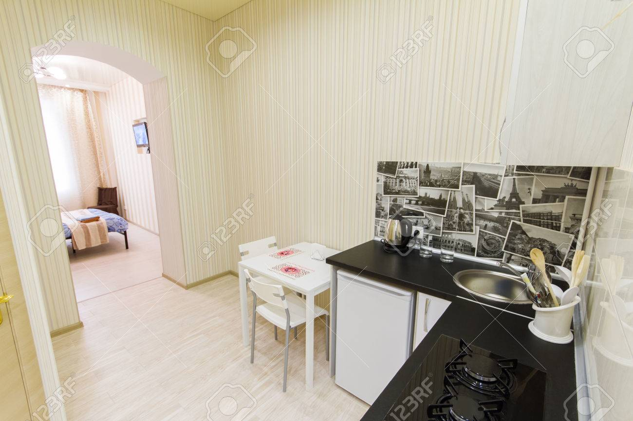 Small kitchen in a studio apartment. Top view
