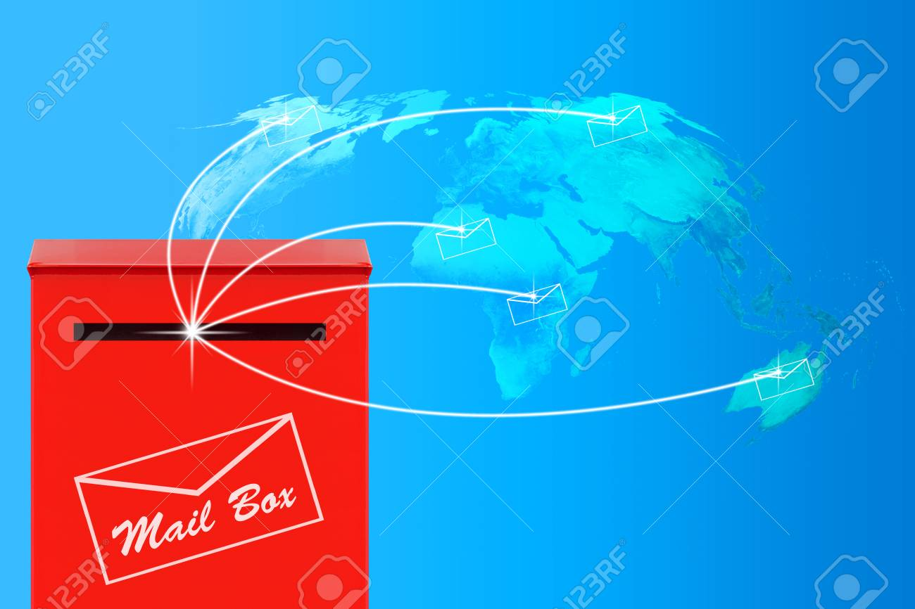 Email concept world map and red mail box in blue tone elements email concept world map and red mail box in blue tone elements of this gumiabroncs Gallery