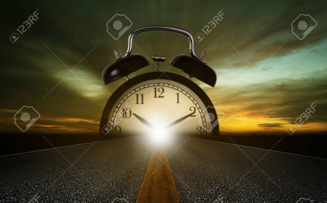 Time management concept, road and alarm clock on sky background - 87848653