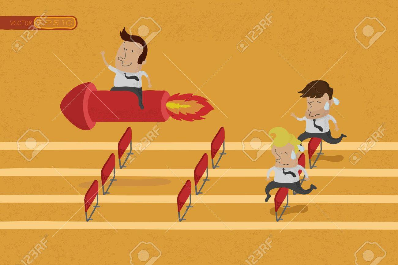 Business persons reaching the goal in a race , eps10 vector format Stock Vector - 19718319