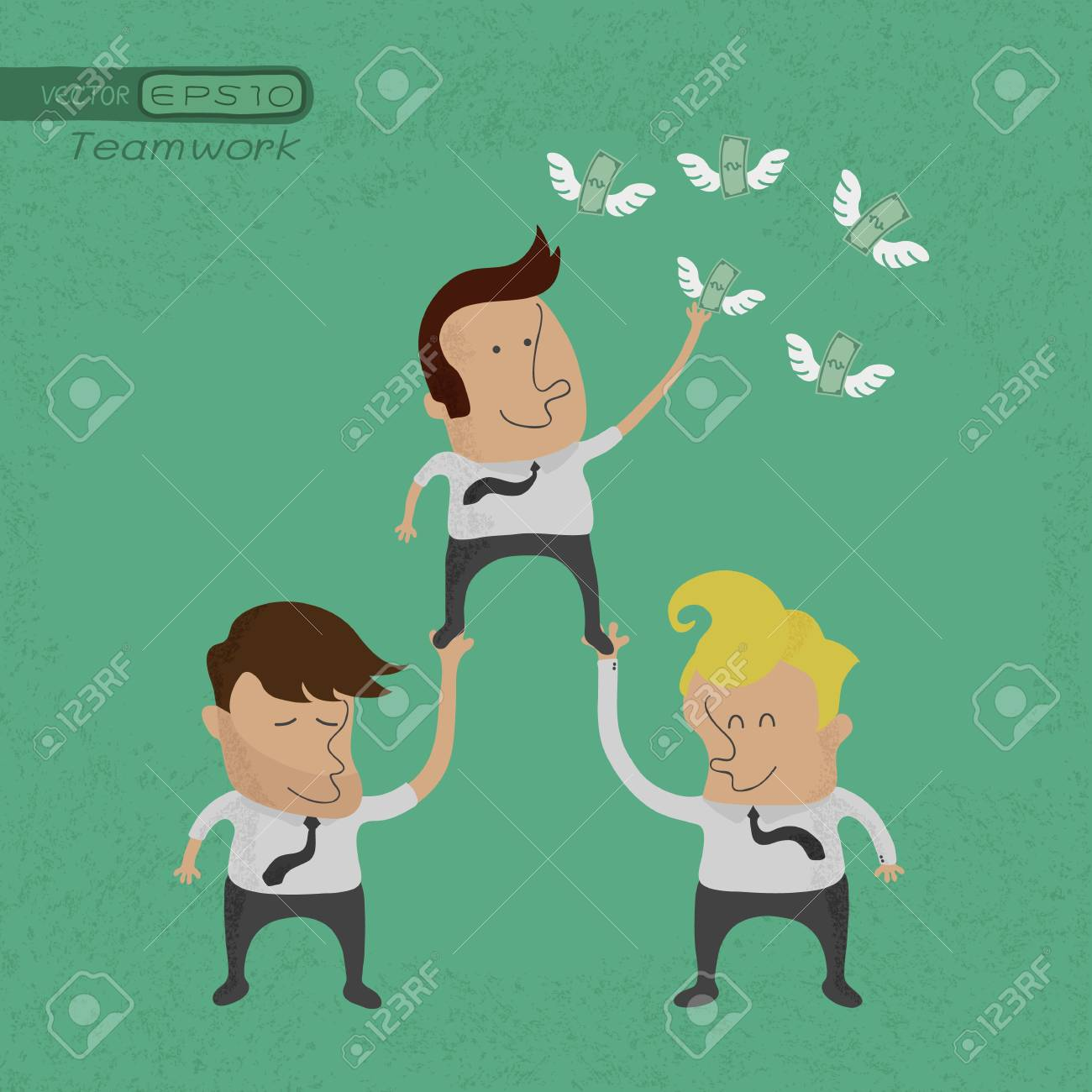 Business people working as a team to grab the money , eps10 vector format Stock Vector - 19718207