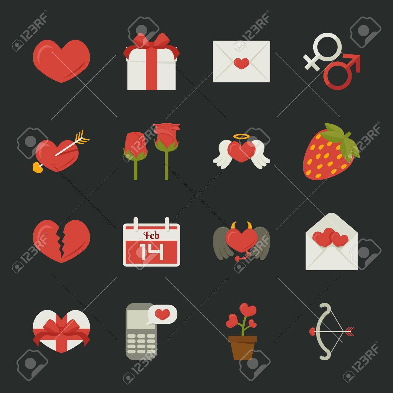 Valentine's day icons, love symbols  , flat design , eps10 vector format Stock Vector - 25517355