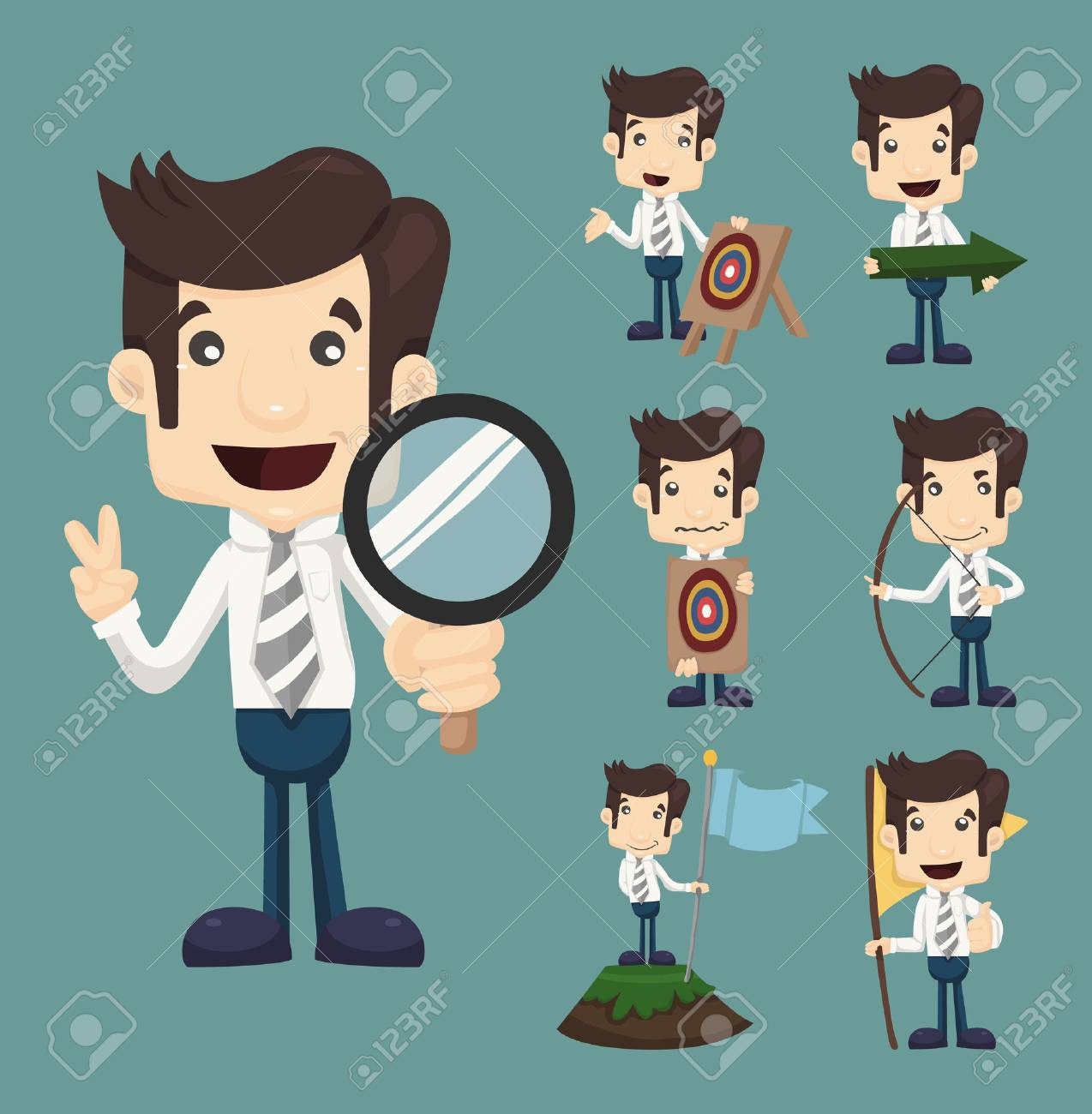 Set of businessman aimming target characters poses , eps10 vector format Stock Vector - 25661131
