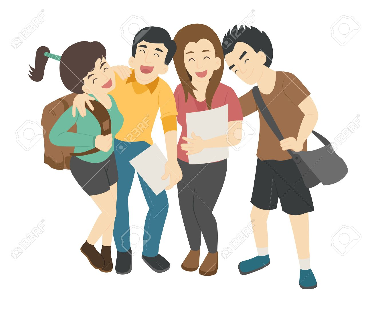 Group of smiling teenage students , eps10 vector format - 44876283