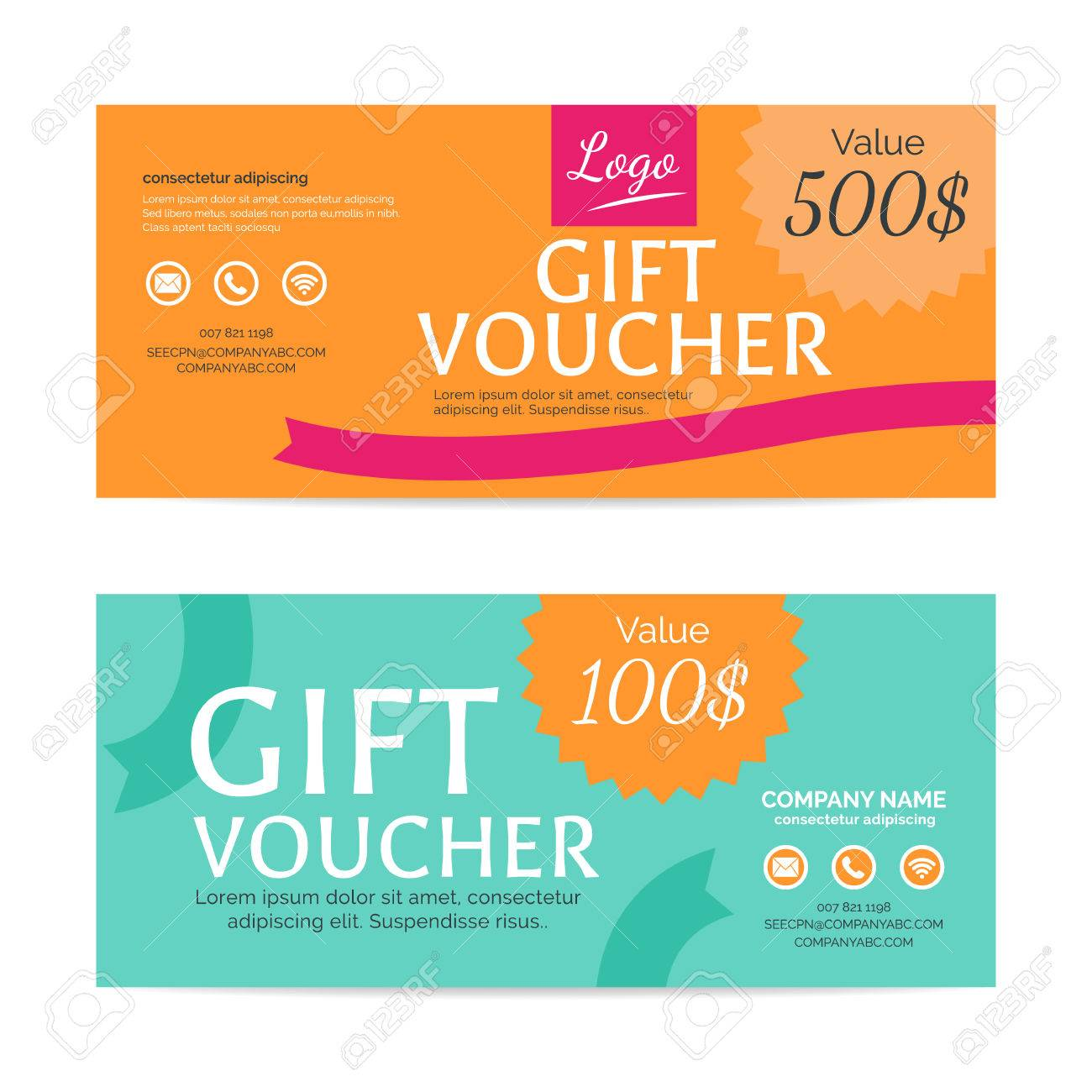 Gift Voucher Template Eps10 Vector Format Royalty Free Cliparts