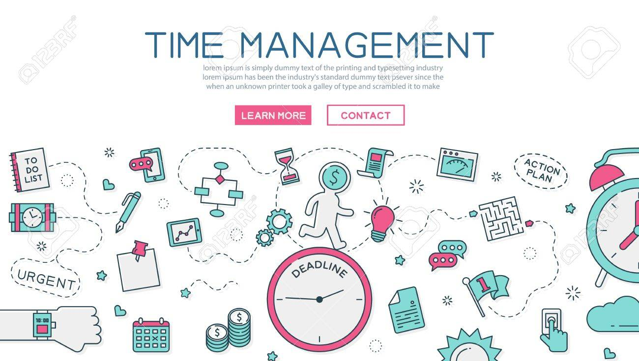 Time Management For Website Banner And Landing Page Royalty Free Cliparts Vectors And Stock Illustration Image 51695026