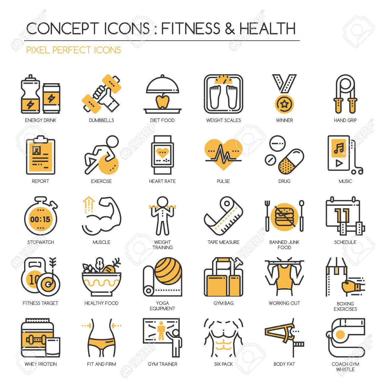 Fitness & Health , thin line icons set ,pixel perfect icon - 57266975