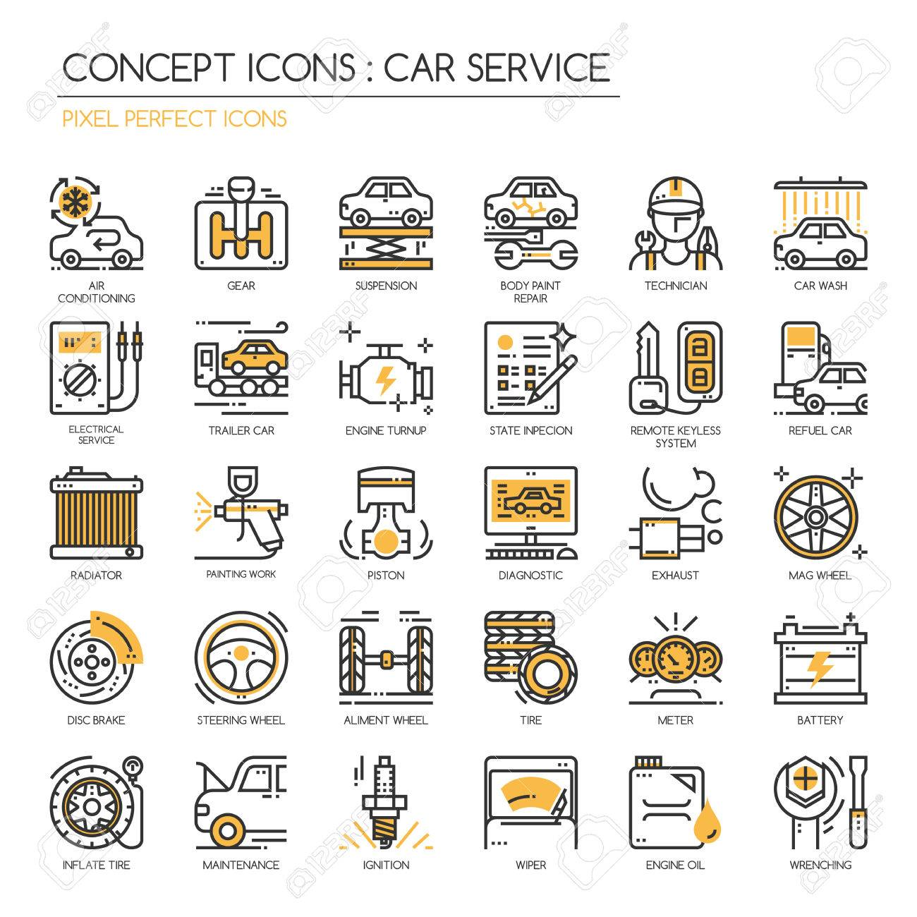 Car Serviec Thin Line And Pixel Perfect Icons