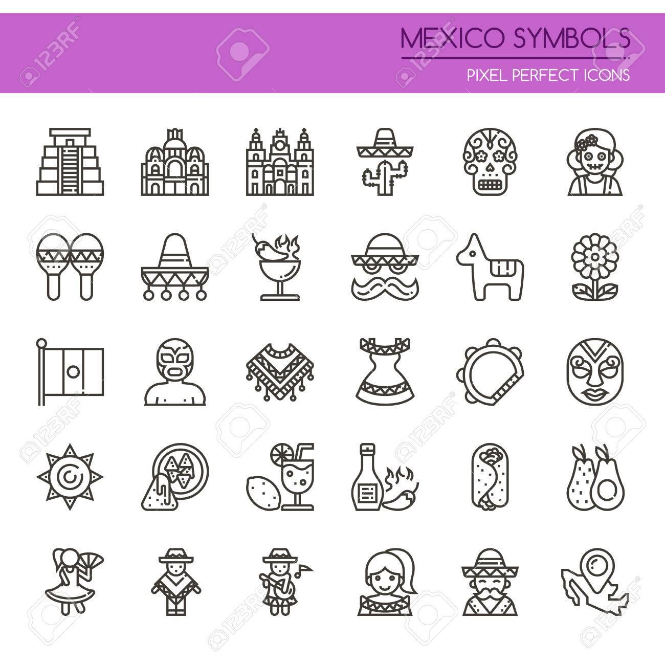 Symboles Du Mexique Icône Mince Et Pixel Icônes Parfaites