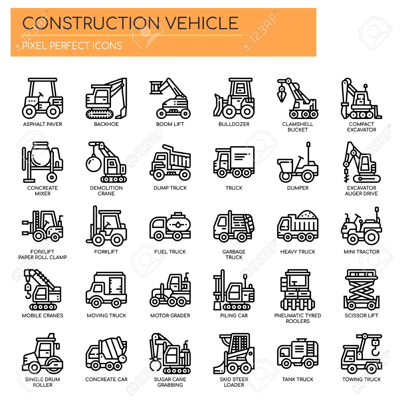 Construction Vehicle , Thin Line and Pixel Perfect Icons - 112378703