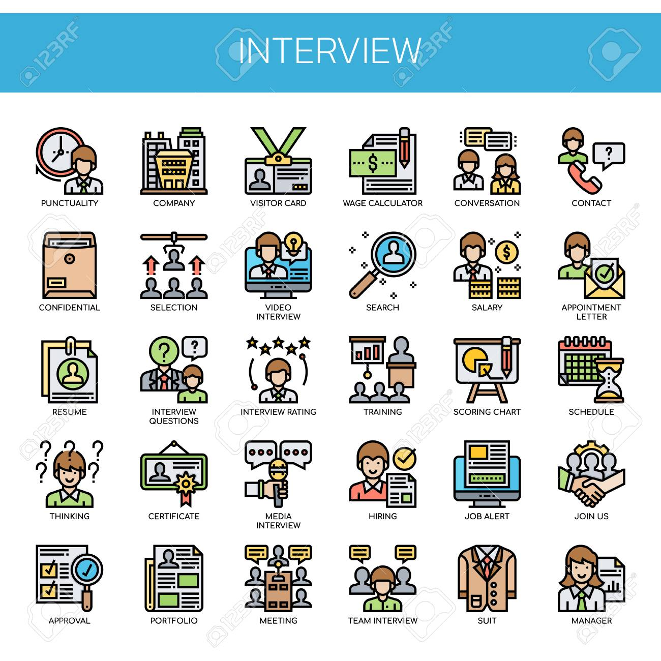 Interview , Thin Line and Pixel Perfect Icons - 112042329