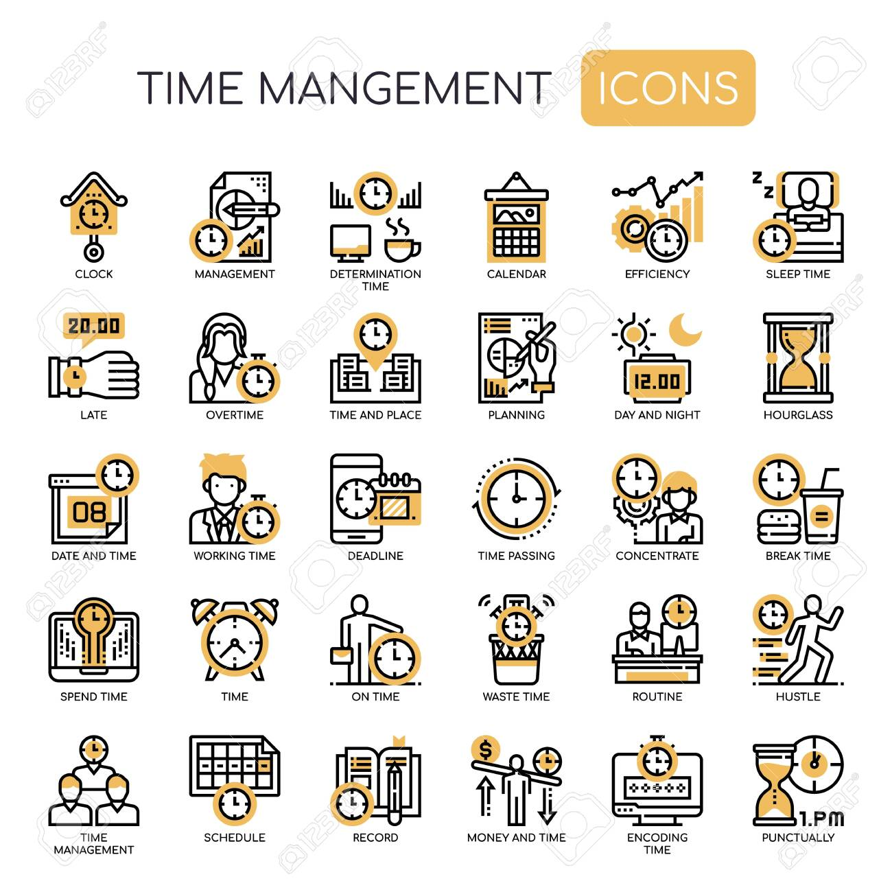 Time Management , Thin Line and Pixel Perfect Icons - 128420723
