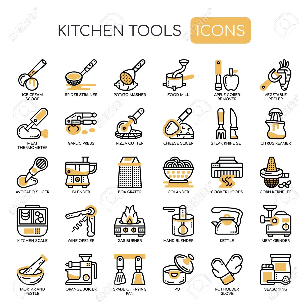 Kitchen Tools , Thin Line and Pixel Perfect Icons - 130108356