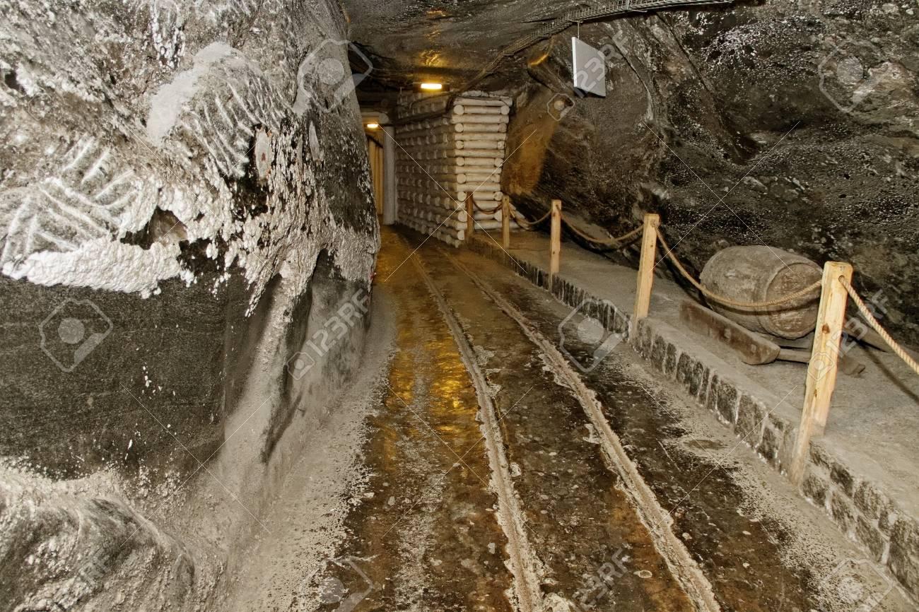 Corridor in salt mine and museum exhibit - 13648683
