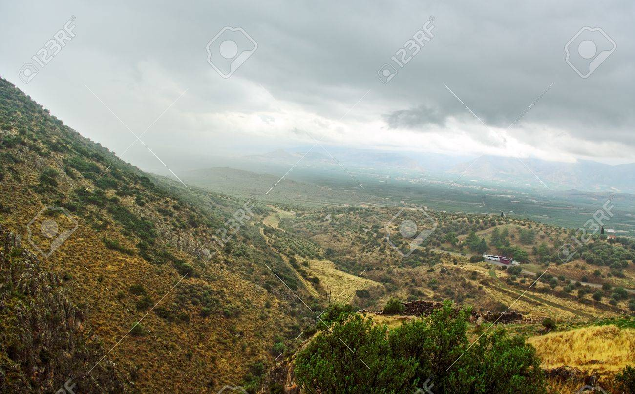 Delfi landscape with road and mountains Stock Photo - 16112271