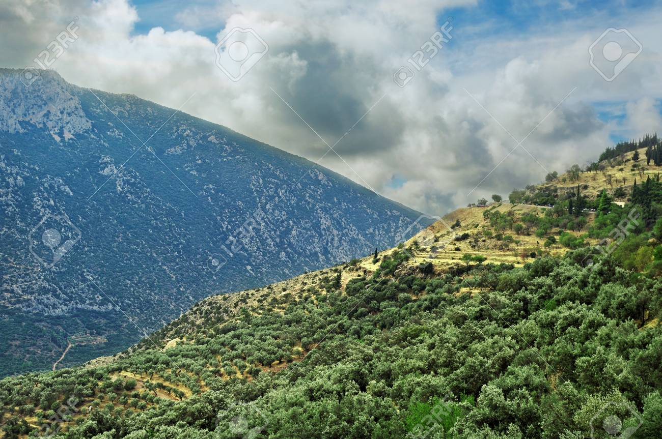 Mountains at the Delphi district Stock Photo - 18533704