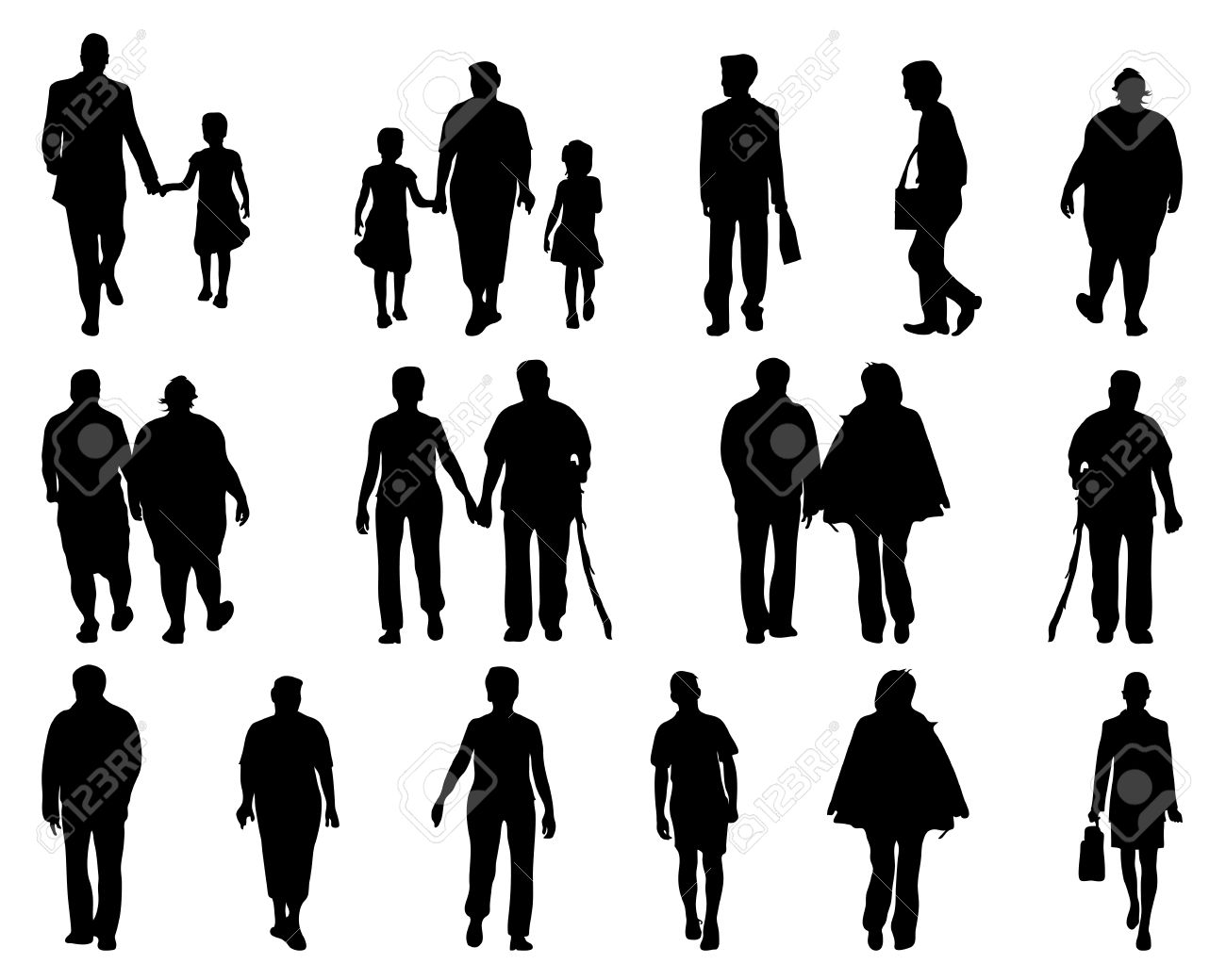 Silhouettes Of People Walking Vector Stock