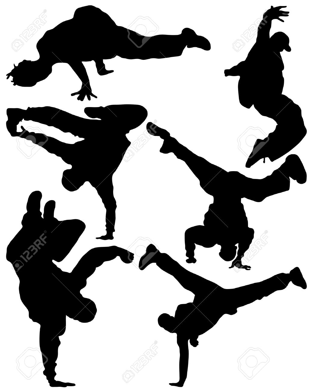 Silhouette of sequence of hip hop dancer, vector - 25435162