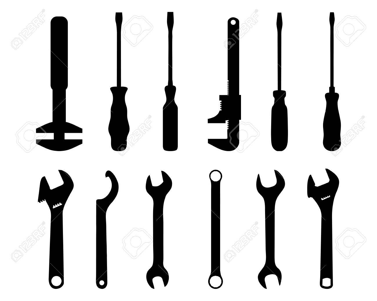 Wrench Black Vector Black silhouettes of