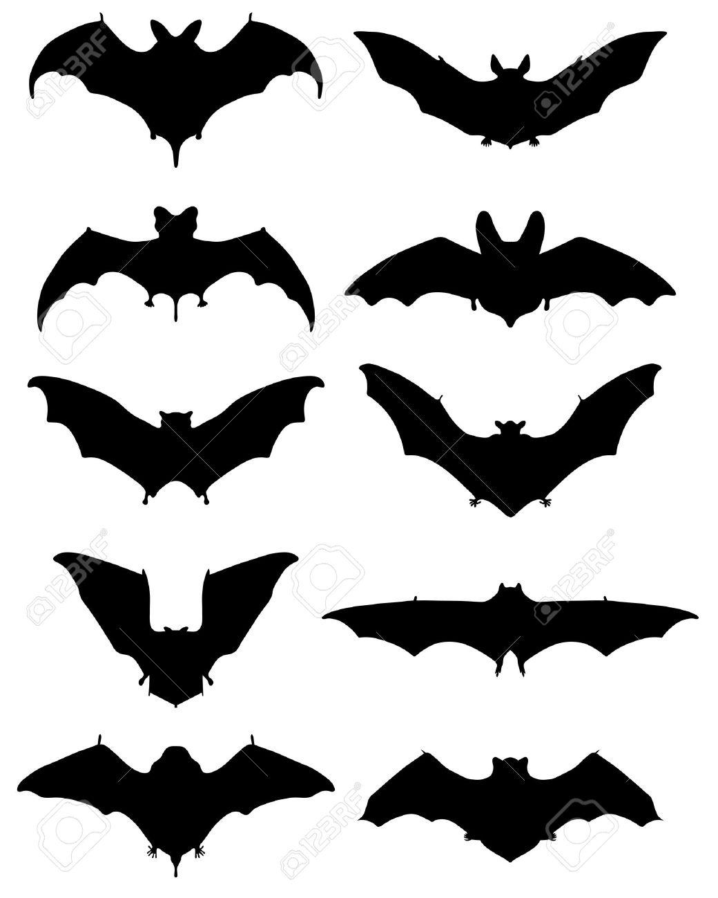 異なるコウモリ イラストの黒いシルエットのイラスト素材ベクタ