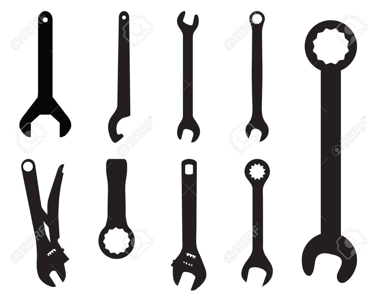 Wrench Black Vector Black silhouettes of screw