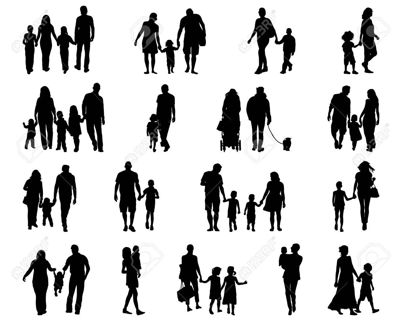 black silhouettes of families in walk vector royalty free cliparts vectors and stock illustration image 44690348 black silhouettes of families in walk vector