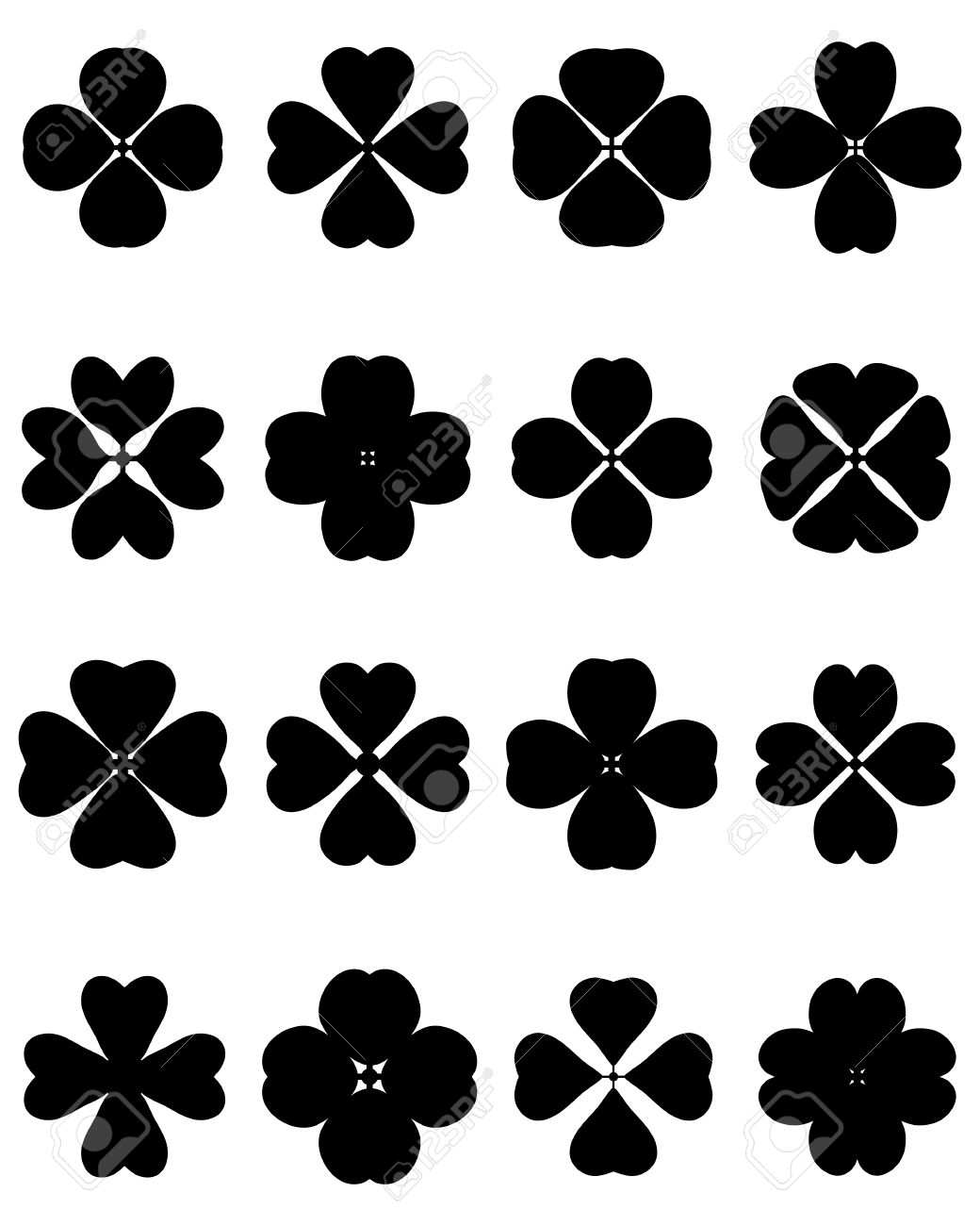 black silhouettes of four leaf clover vector royalty free