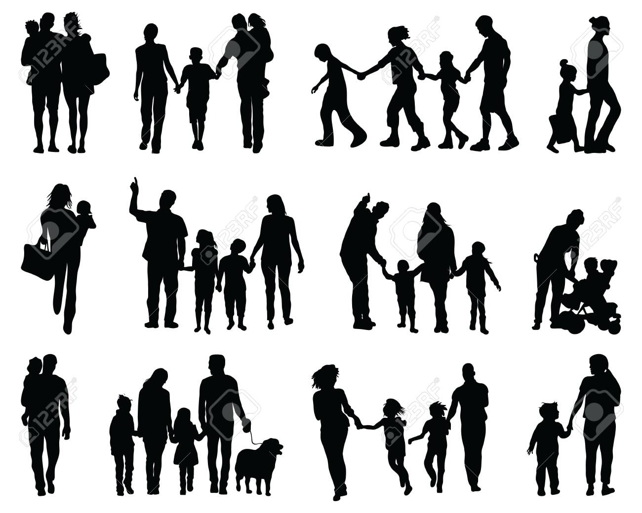 Black silhouettes of families in walking on a white background - 142219821