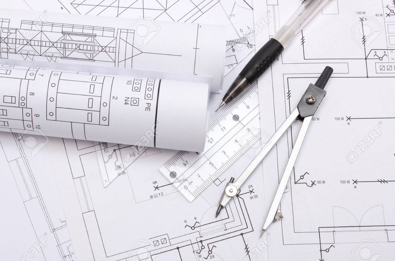 Rolled Electrical Diagrams And Accessories For Drawing Lying Stock How To Draw Diagram On Construction Of House Drawings