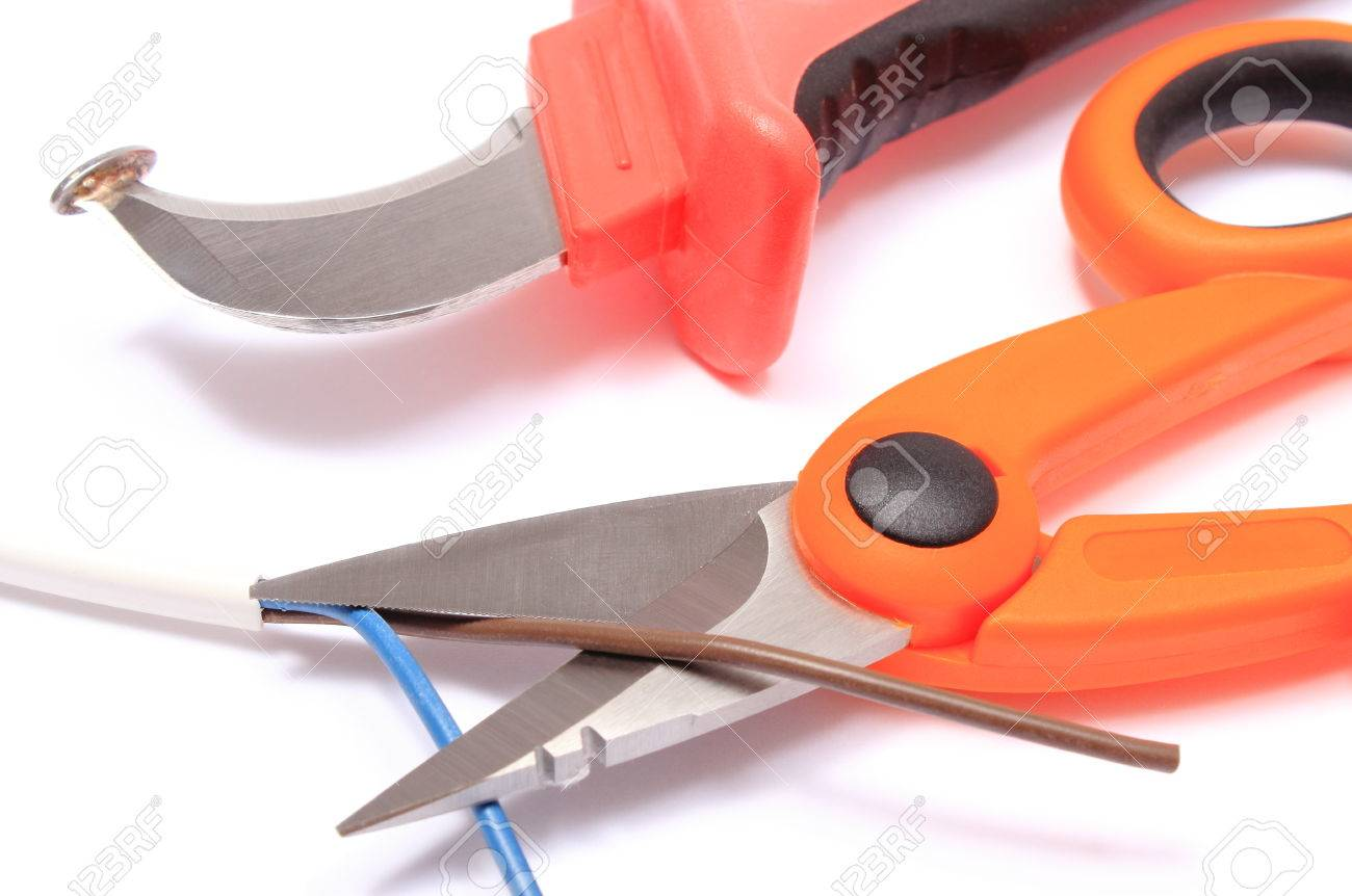 Cable Cutter And Electric Wire On White Background, Accessories ...
