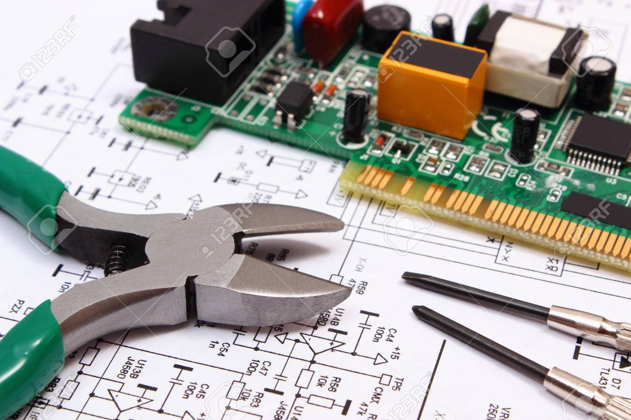 Printed Circuit Board Tools Library Of Wiring Diagram Repair With Electrical Components And Precision Rh 123rf Com Intel