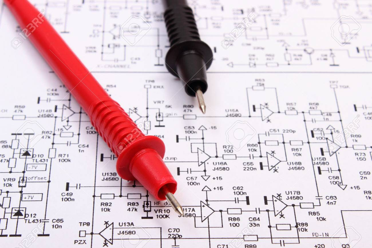 Cable Of Multimeter On Diagram Of Electronics Printed Circuit ...