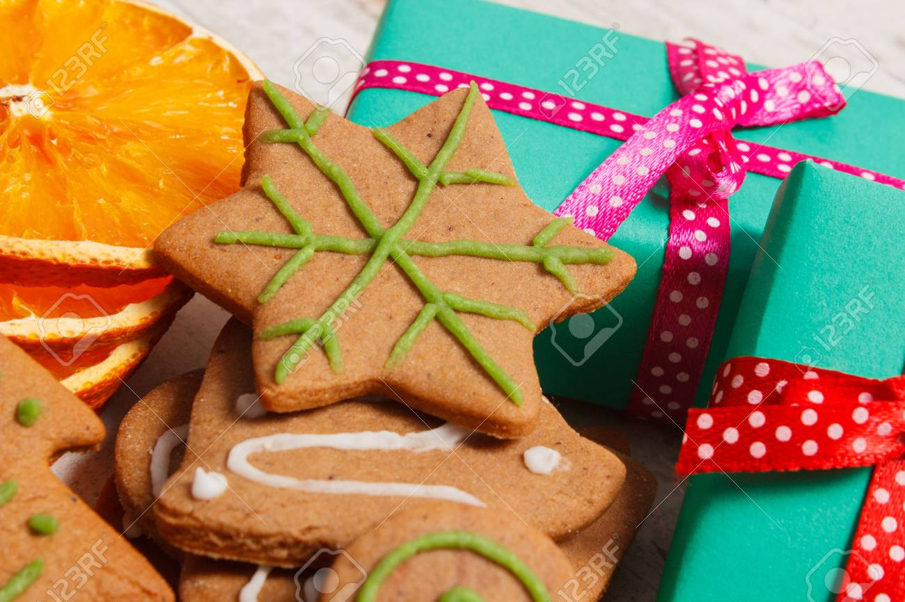 Fresh Baked Homemade Decorated Gingerbread Christmas Cookies
