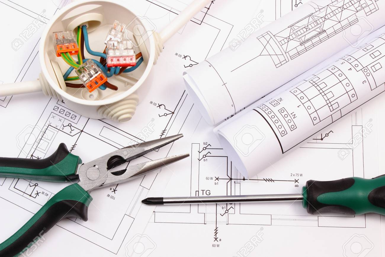 Work Tools, Rolls Of Diagrams And Cable Connections In Electrical ...
