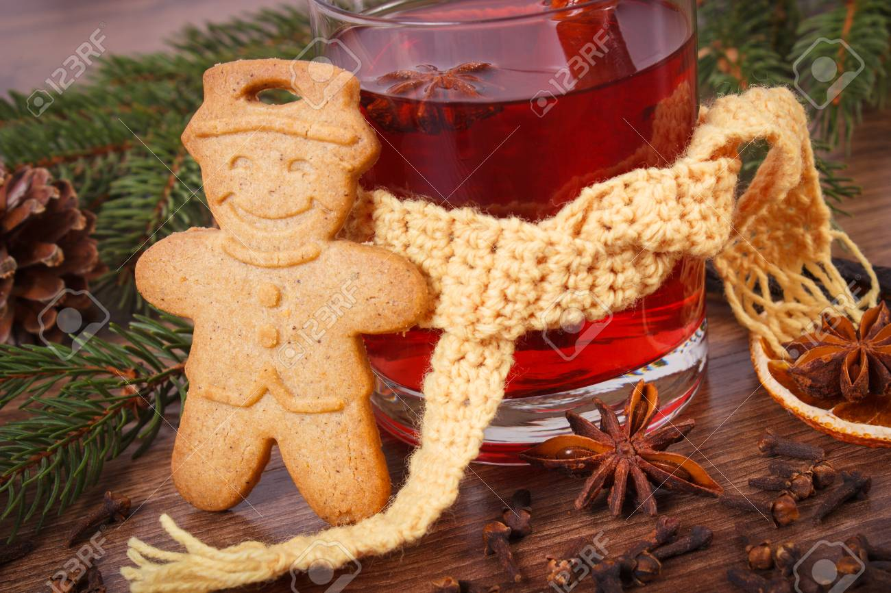 Glass Of Mulled Wine Wrapped Scarf Gingerbread Or Christmas