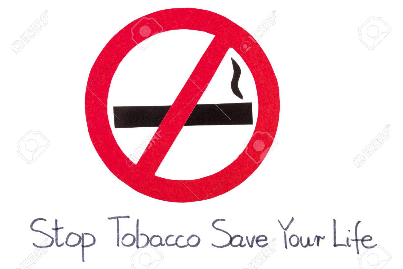 Red Round No Smoking Sign With Inscription Stop Tobacco Save Stock